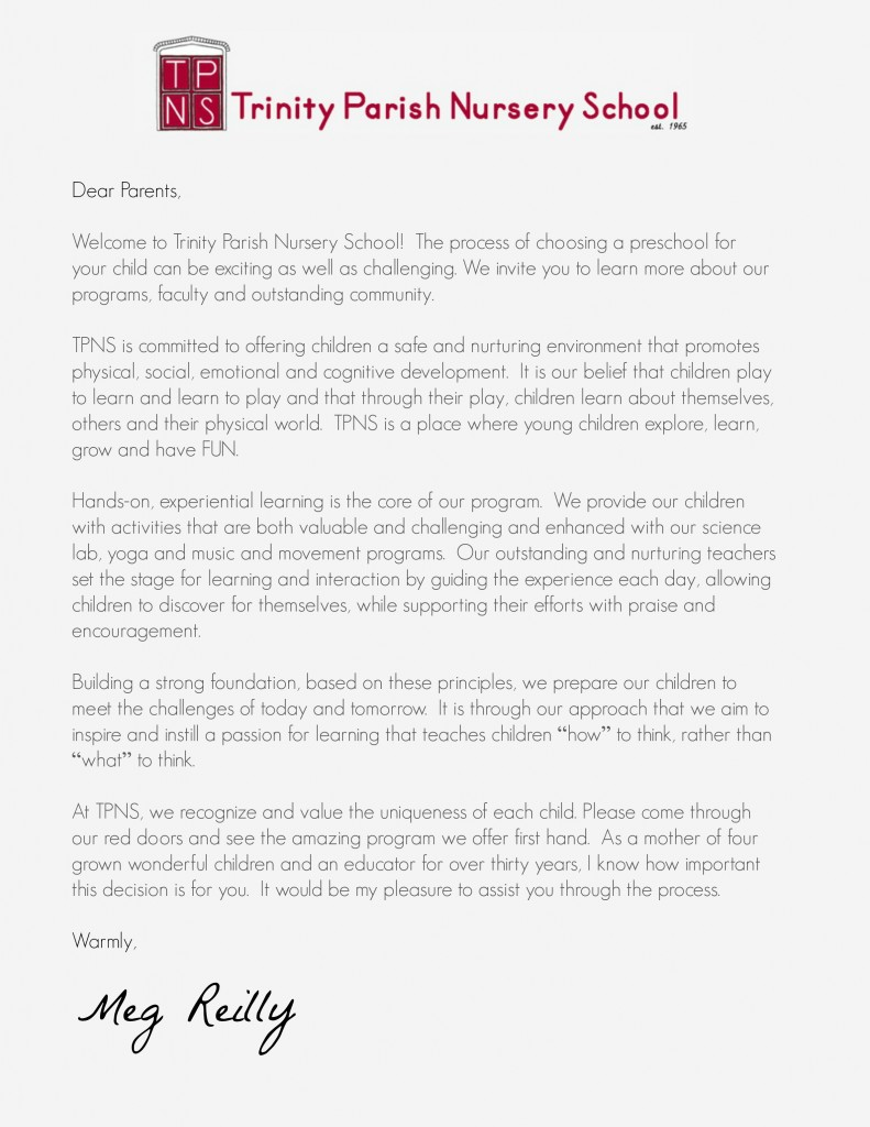 Letter From The Director Trinity Parish Nursery School
